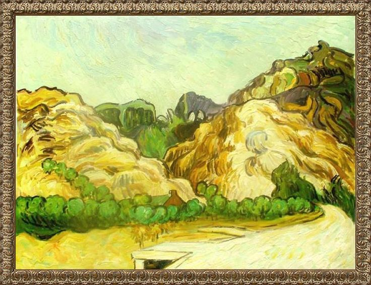 Mountains at St. Remy with Dark Cottage - Canvas Art & Reproduction Oil Paintings
