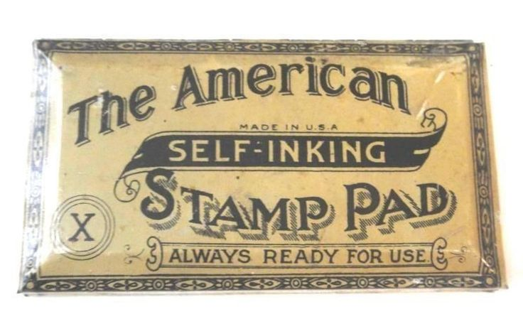 1890 antique victorian STAMP INK PAD METAL TIN w/PAD typography,rubber,art