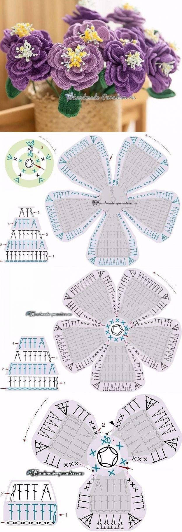 плоские розы крючком схема и описание