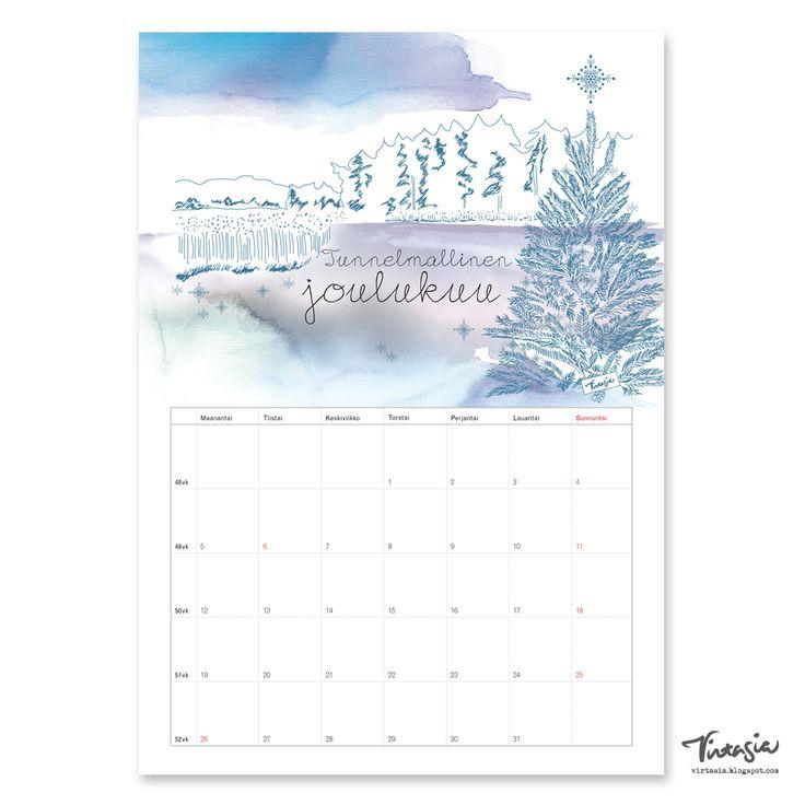 Ilmainen tulostettava joulukuun 2016 seinäkalenteri #ilmainen #tulostettava #kalenteri #2016 #joulukuu #free #print #calendar #december