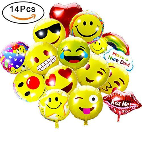 """Emoji facial expressions design for party, wedding, birthday, festival decoration Double-sides printing, Size range from 14 – 22 inches. 14 PSC in total. 11 PCS 18 inches Emoji Mylar balloons, 1 PSC 22 inch Kiss Me balloon, 1 PSC 14 Inch Rainbow Cloud """" Have a nice day"""" balloon, 1 PSC 18 inch Heart balloon. …"""