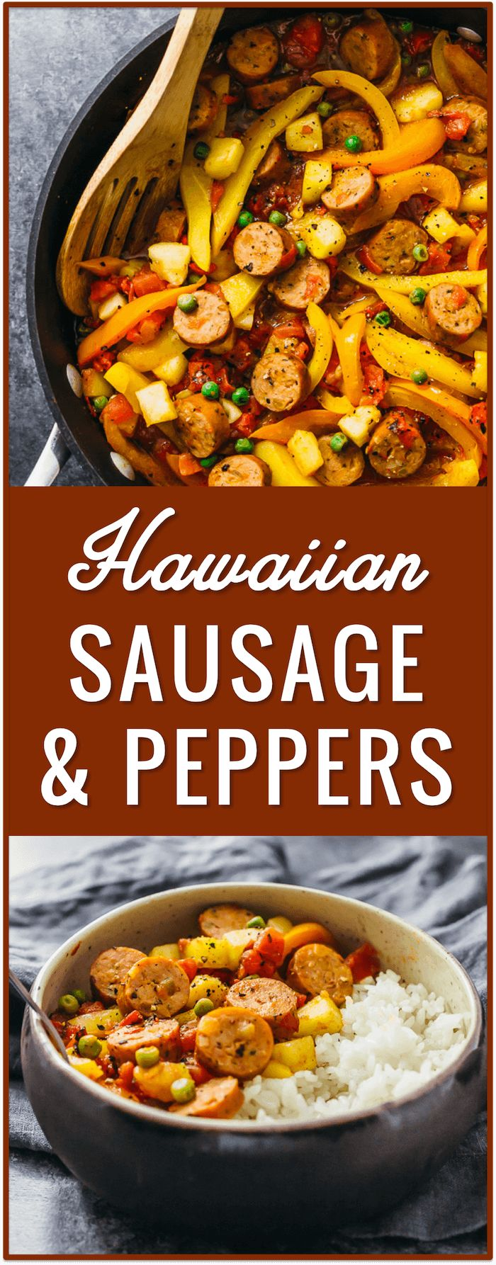 Hawaiian sausage and peppers with rice, easy, recipe, dinner, lunch, pineapples, slow cooker, italian, in oven, sauteed, skillet, crockpot, pasta, sandwich, baked, potatoes via @savory_tooth