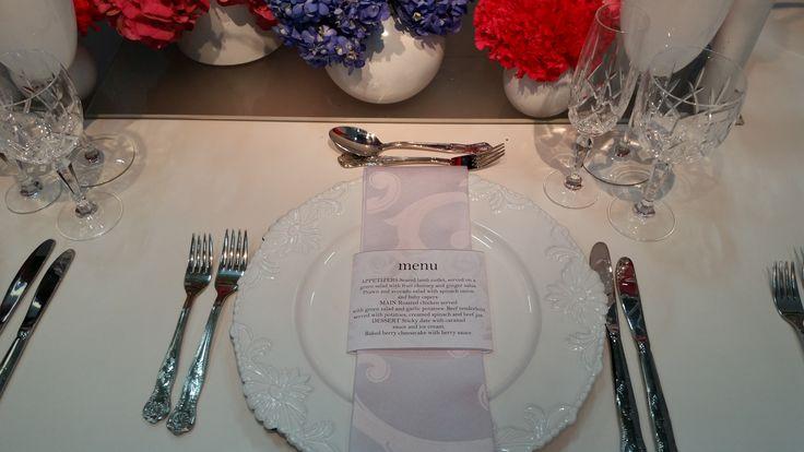 SA Wedding Decor Stand @Decorex 2014 Menu design, cutlery, underplates, crystal glassware and damask white serviette