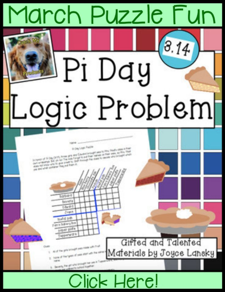 Find Pi Day printables, ideas, and activities for your party for kids on 3.14, National Pi Day. Math with this logic puzzle worksheet will make your elementary classroom fun! These brain teasers could also be used in middle school for critical thinking. The difficult grid provides problem solving practice with worksheets. Common cores classroom is great for teachers to provide fun for early finishers or learning in whole class, small group, centers, or home school.