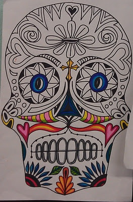 Day of the Dead Symmetrical Sugar Skull Drawings- Middle School