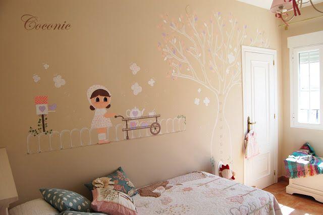 Mural pintado a mano de coconic para decorar la habitaci n for Mural para habitacion