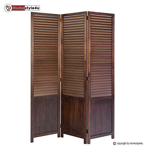 homestyle4u 3 fach paravent raumteiler holz trennwand spanische wand sichtschutz braun. Black Bedroom Furniture Sets. Home Design Ideas