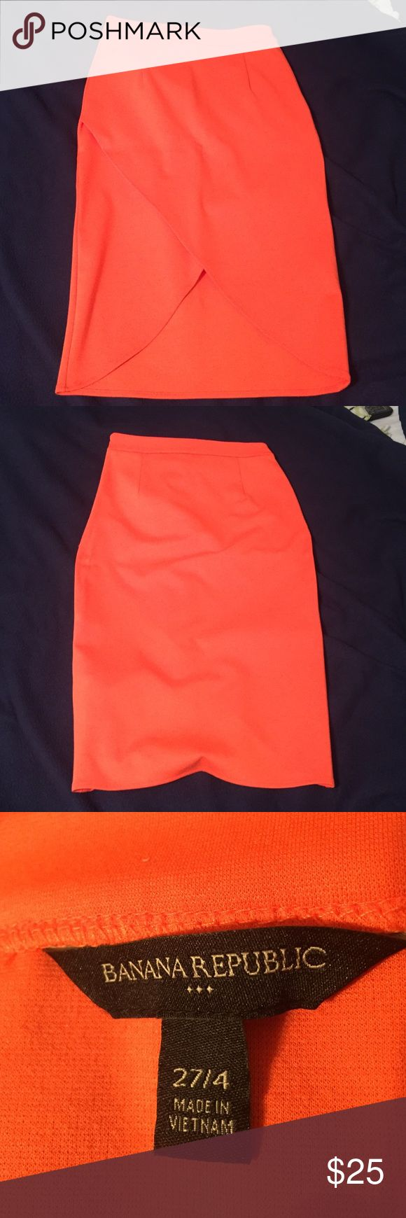 Faux Wrap Banana Republic Midi! Summer must have! Cotton banana republic midi skirt in beautiful bright orange color with awesome faux wrap design. Only worn once! Super soft and comfortable for warm weather, can be dressed up, down, and maybe even worn to work! Banana Republic Skirts Midi