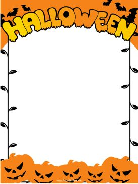 Creepy Jack O Lanterns, Black Bats And The Word  Border Paper Template