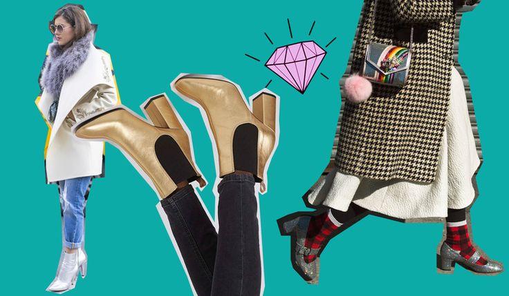 Cómo usar zapatos metálicos según las asistentes a NYFW