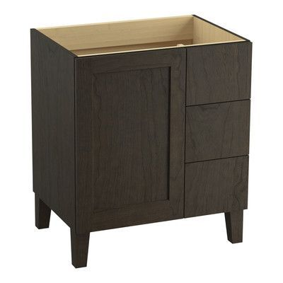 "Kohler Poplin 30"" Vanity with Furniture Legs, 1 Door and 3 Drawers on Right Finish:"
