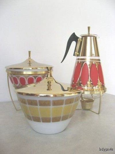 Vintage Fred Press Fire King Bowls Coffee Pot Warmers - Bowls marked Fire King, coffee pot marked Fred Press and also Corning