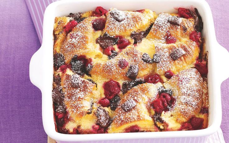 Chocolate and Raspberry Croissant Pudding