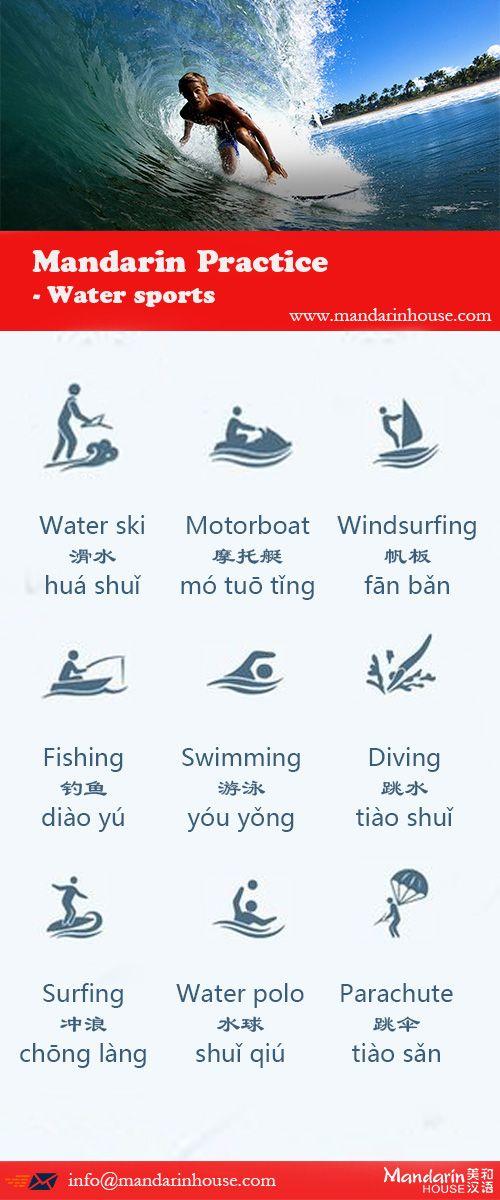 Water Sports in Chinese.For more info please contact: bodi.li@mandarinhouse.cn The best Mandarin School in China.