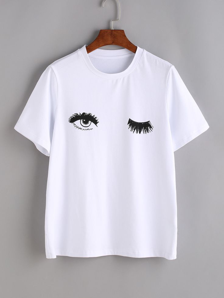 Shop Wink Eyes Print Tee online. SheIn offers Wink Eyes Print Tee & more to fit your fashionable needs.