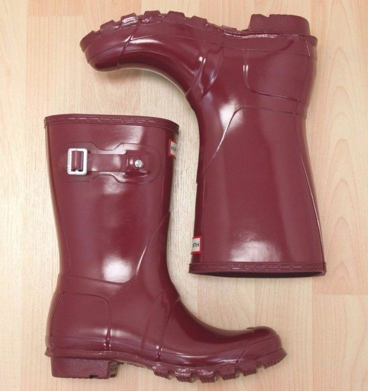 Hunter Original Short Gloss Damson Rain Boots Size 6 #Hunter #RainBoots