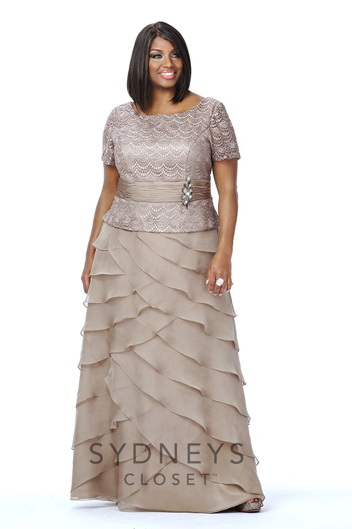 Plus Size Taupe Mother Of The Bride Dress Sleeves