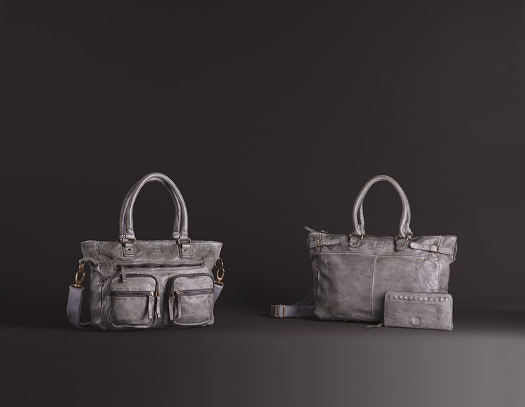 Timeless Collection | Leather handbags and wallet | Grey stone