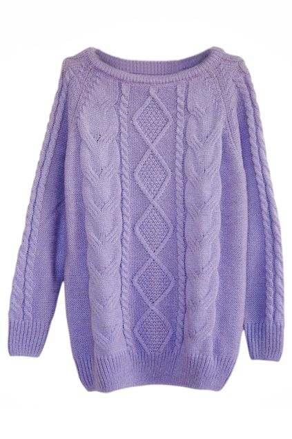 ROMWE | Rhombus Cable Knit Purple Jumper, The Latest Street Fashion