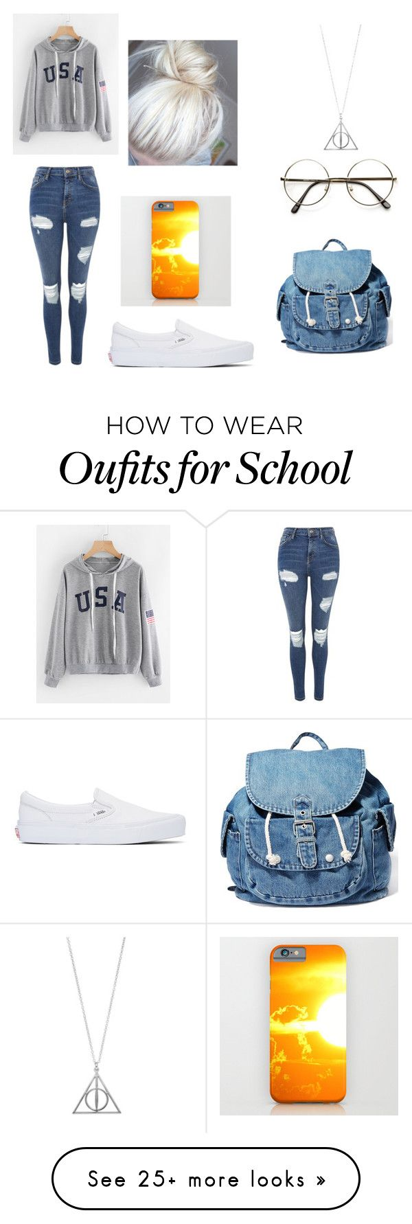 """school day"" by avashelton on Polyvore featuring Topshop, Vans and Dance & Marvel"