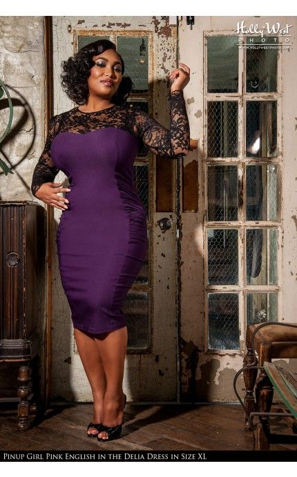 Laura Byrnes California - Vintage Goth Pinup Capsule Collection - Delia Dress in Purple - Plus Size   Pinup Girl Clothing