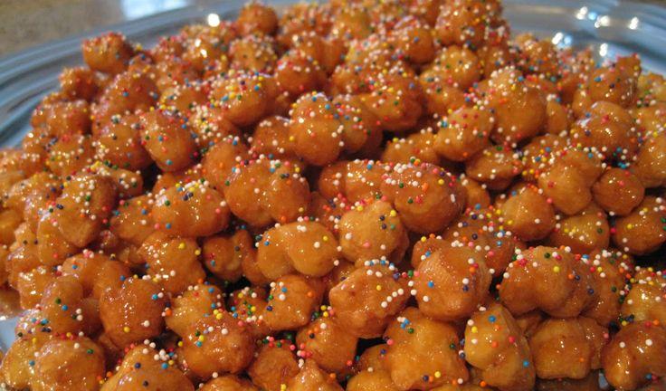 : Struffoli (deep fried balls of dough) and zeppole (deep-fried dough ...