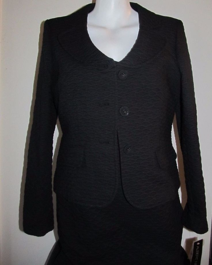 Albert Nipon Dress Suit New Size 10 Black Textured Fabric 2 Piece Fully Lined #AlbertNipon #DressSuit