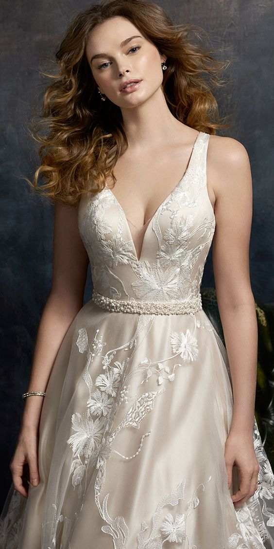 Kenneth Winston Style 1732 | embroidered lace wedding dress with ...