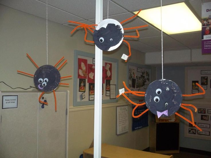 For halloween some kindercare toddlers created spiders to for Art and craft decoration