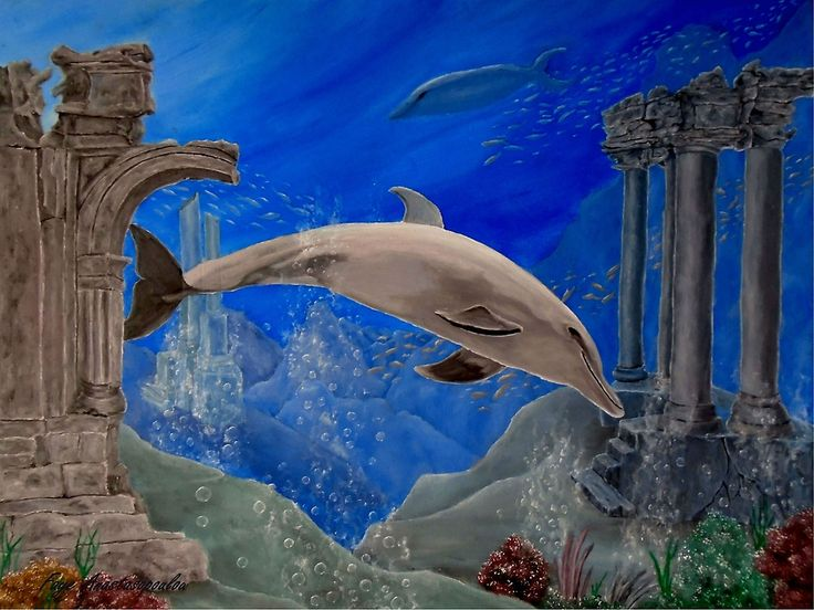 dolphin,painting,underwater,world,scene,wildlife,fish,seascape,arches,ruins,temples,sunk,ancient,town,saltwater,ocean,sea,deep,bottom, corals,reefs,bubbles,vivid,colorful,aqua,blue,turquoise,water,mystery,submerged,marine,animal,beautiful,awesome,cool,superb,amazing,fabulous,magnificent,contemporary,realistic,figurative,in,of,under,the,fine,oil,wall,art,images,home,office,decor,artwork,modern,items,ideas,for sale,redbubble