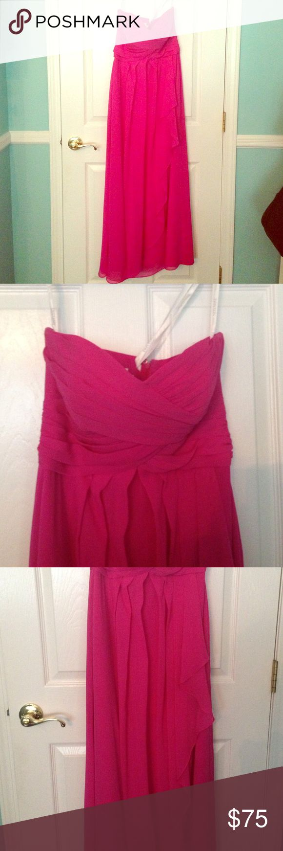 Bridesmaid Dress David's Bridal Bridesmaid Dress, their Begonia color, worn once. Was hemmed, I'm 5'1 and wore 3 inch heels with the dress. Also has cups sewn in it which could be cut out if needed. Super comfortable and in good condition! David's Bridal Dresses Strapless