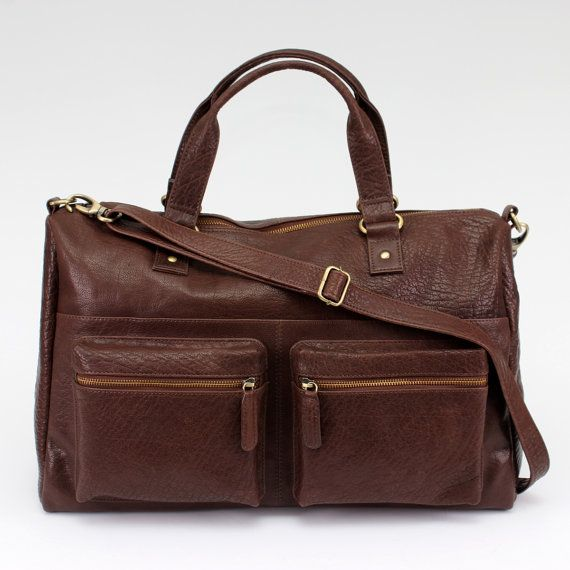 Brown Leather Weekend Holdall Travel Bag Purse by TheLeatherStore