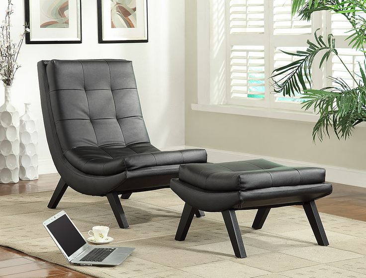 The sleek design nods to the iconic mid century modern aesthetic. Grid tufted cushioning adds comfort and high style. Offered in black, red and white Bonded Leather for a cool sophisticated look - Tustin Lounge Chair & Ottoman in Black Fau Leather from Ave Six - Model #TSN51-B18