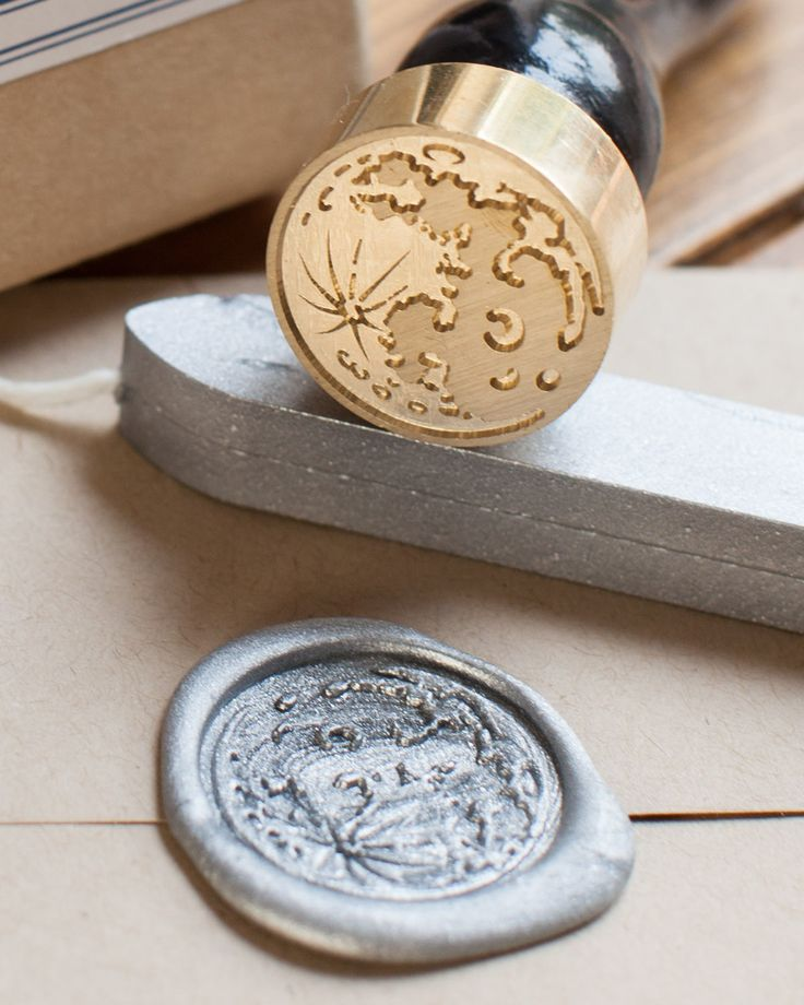 Seal your letters, wedding invites or your dissertation with this beautiful shimmery metallic silver moon wax seal. Love notes are better received with a little lunar flair, or fancy up your wedding i
