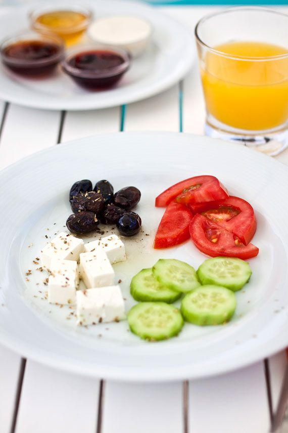 The perfect Mediterranean snack...feta, olives, cucumbers and tomatoes... Yum!