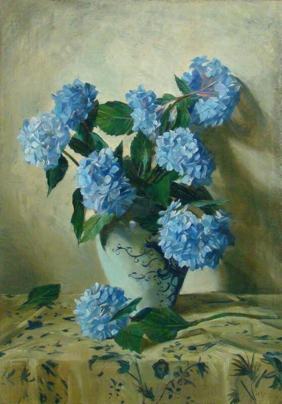 Willem Korteling Bzn, 1925-1935, Blauwe hortensia's op bloemrijk kleed, Historisch Museum Deventer