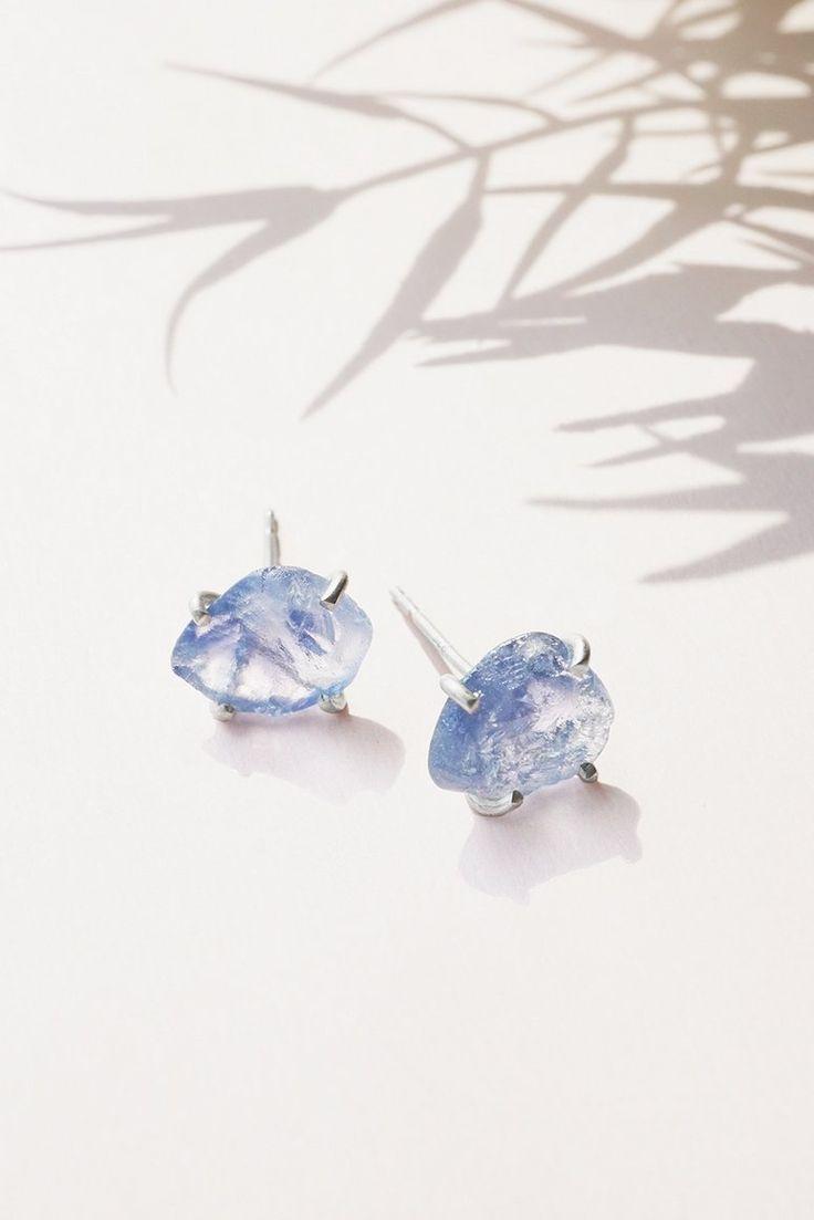 Elegant Large Raw Blue Sapphire Gemstone Stud Earrings - Rvati