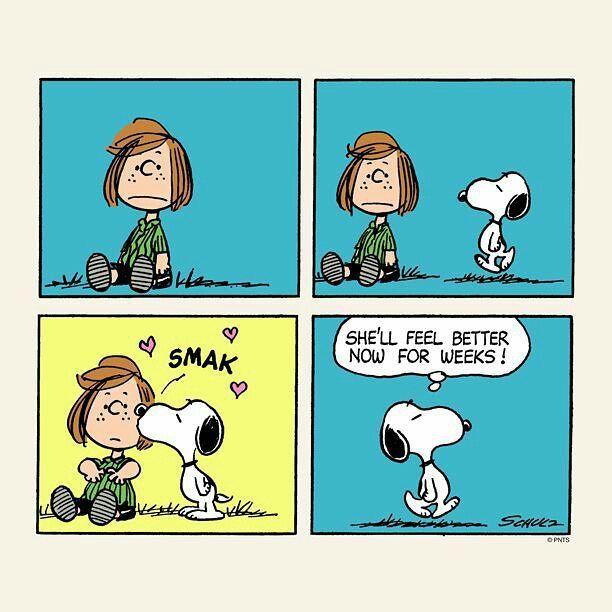 Snoopy faz você se sentir melhor.  #snoopy #peppermintpatty #kiss #peanuts