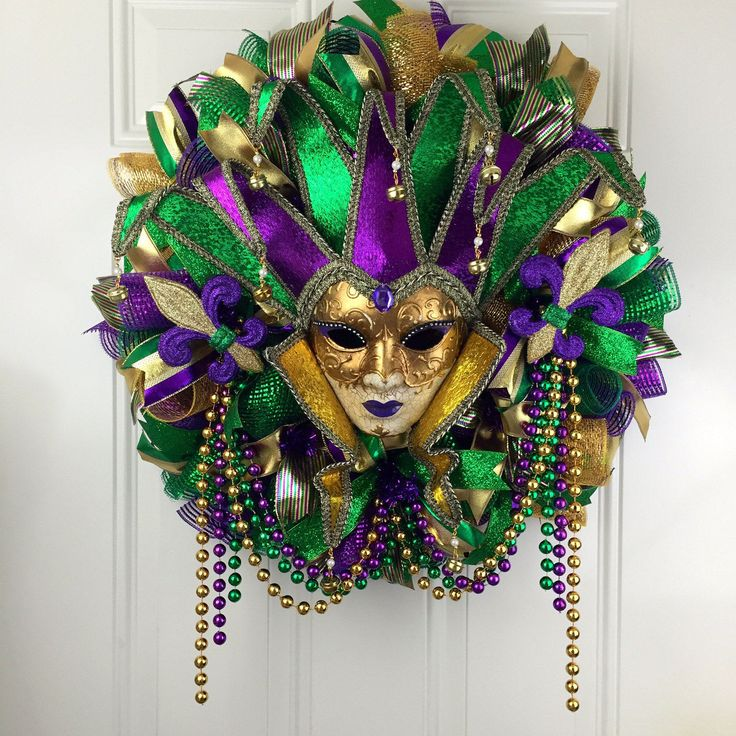 Mardi Gras Deco Mesh Wreath, Fat Tuesday, ,Mardi Gras wreath, festive wreath, Beautiful Mardi Gras Deco Mesh Wreath, Fat Tuesday by RhondasCre8iveCorner on Etsy