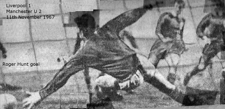 Liverpool 1 Man Utd 2 in Nov 1967 at Anfield. Roger Hunt scores Liverpool's goal #Div1