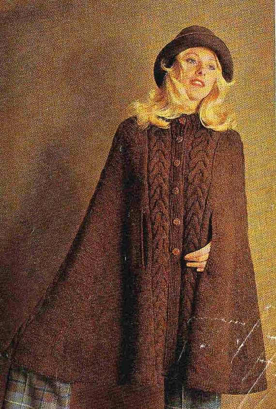 vintage ladies cable panel knitted cape for by EnglishCrochet