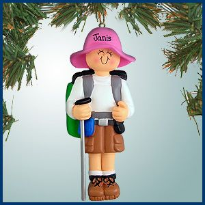 PersonalizedFree.com - Female Hiker with Brown Shorts Personalized Christmas Ornament, $13.50 (http://personalizedfree.com/female-hiker-with-brown-shorts/)