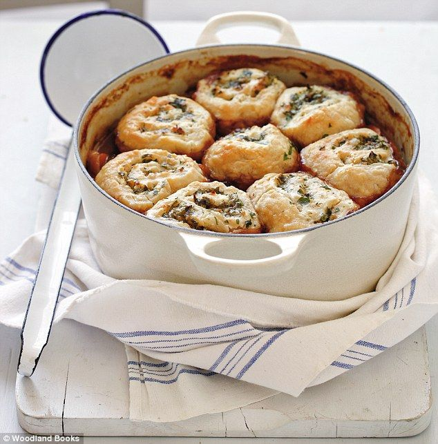 Scrumpy beef casserole with parsley and horseradish dumplings ~ dough spread with herbs, rolled up like a Swiss roll, sliced for dumplings, and baked over a hearty beef & mushroom mix | recipe by Mary Berry via Daily Mail