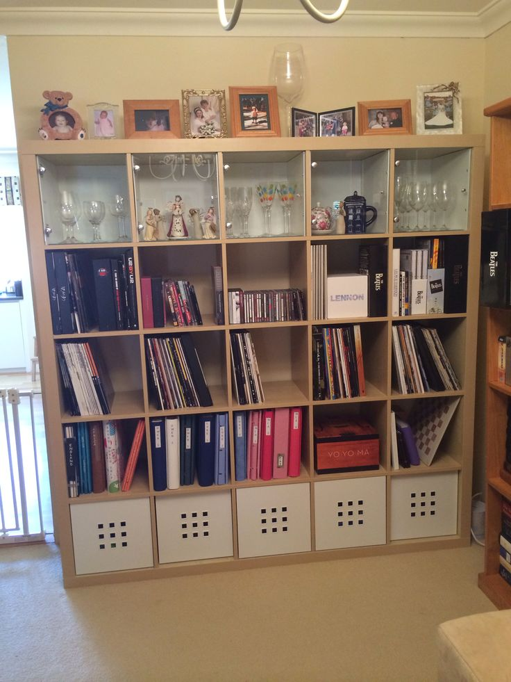 ikea expedit bookcase 5x5 worked out brilliantly for what i had intended glass doors at the. Black Bedroom Furniture Sets. Home Design Ideas