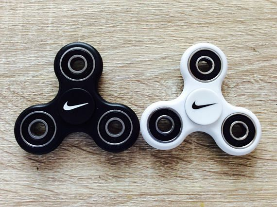 Tri Hand Fidget Spinner Toy w#x2F; Nike Pink Yellow Red Black