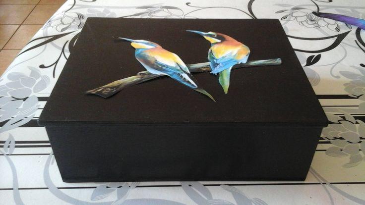 Boite en bois décor oiseaux /Huiles essentielles / cadeau coffret en bois/doses homéopathiques/ boîte huile/ huile essentielle, personnalisé de la boutique LeBoisdesLumieres sur Etsy