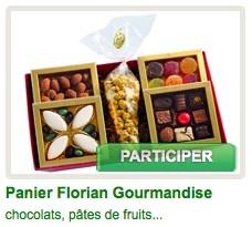 Un panier entier pour découvrir tout l'univers Florian, que du bonheur ! Composition: - calissons et olives au chocolat - chocolats confiseur - pâtes de fruits - amandes chocolatées Floramandes - Crousti Florian (au chocolat) @BSM_fr #BingoSocialMedia