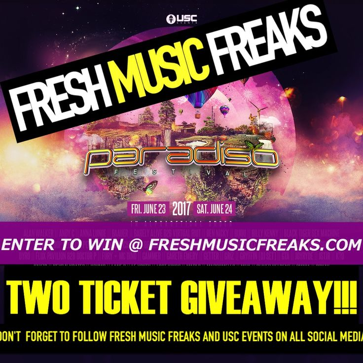 USC Events + Fresh Music Freaks   PARADISO TICKET GIVEAWAY! USC Events and Fresh Music Freaks want to send you and a friend to Paradiso Music Festival! This summer, on June 23rd and 24th, we will return to the breathtaking Gorge Amphitheater as we celebrate the sixth annual Paradiso Festival. Line Up HERE Every year, we collectively leave behind the...