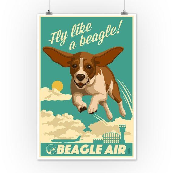 Beagle Retro Aviation Ad 9x12 Art Print Wall Decor Travel