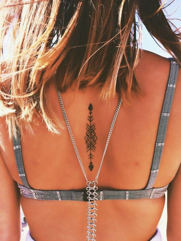 I like the placement on the spine, 150 Stunning Arrow Tattoo Designs and Meanings